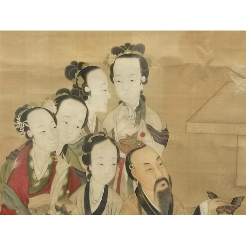 4 - SCROLL - CHINA - 19th CENTURY Scroll on cotton canvas. Group of ladies and dignitary who hold a butt...