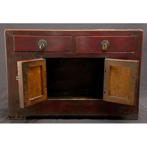 40 - SMALL CABINET - CHINA - 19th-20th CENTURY Small cabinet - China, Shanxì Province - lacquered elm woo...