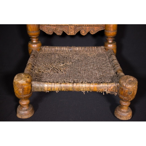 49 - PAIR OF A SMALL CHAIRS - AFGHANISTAN - LATE 19th CENTURY Pair of a small chairs in carved wood with ...