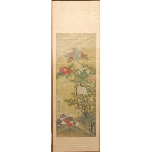 5 - SCROLL - CHINA - 19th CENTURY Scroll on rice paper. The peonies are symbol of wealth and distinction...