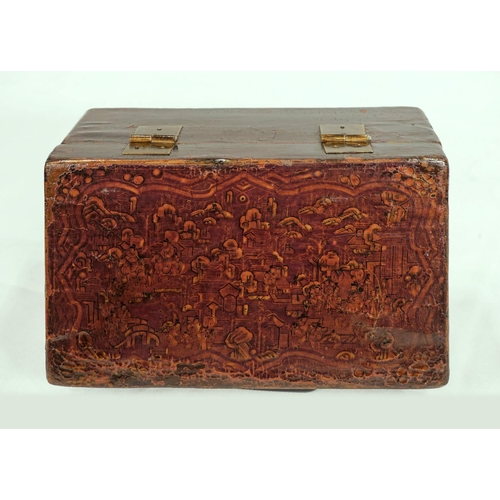59 - DECORATED BOX - CHINA, SHANXÌ PROVINCE - 19th CENTURY Wooden box covered in leather and decorated in...