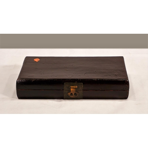 60 - BOX - CHINA, SHANXÌ PROVINCE - 19th CENTURY Wooden box covered in leather and lacquered - China, Sha...