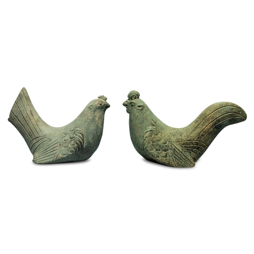 8 - COCK AND HEN - CHINA, EASTERN HAN DYNASTY (25-220) Terracotta...