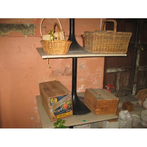 8 - Two Old Timber Food Crates and 4 Wicker Baskets...