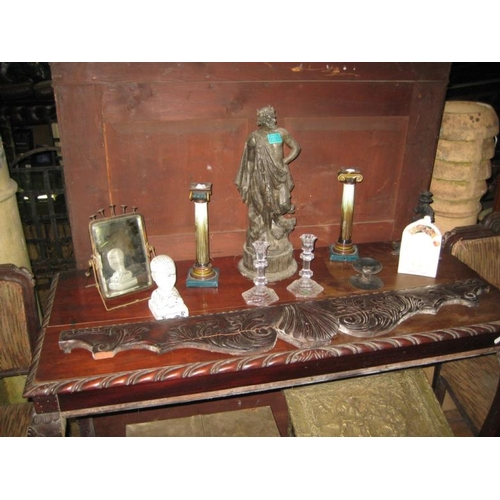 20 - Spelter Figure, Candlesticks, Phrenology Head, etc...