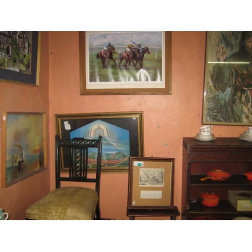 47 - Framed Billards Print, Racing Print and another...