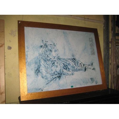 1052 - Large Gilt Framed Print of a Tiger...