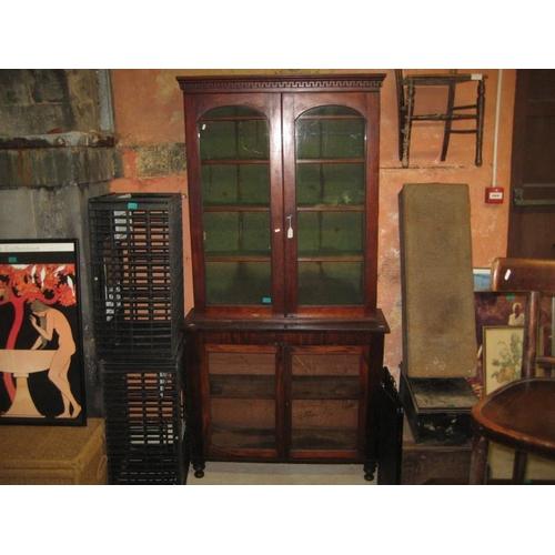 1059 - Early Victorian Mahogany Bookcase with 2 Glazed Doors over 2 Lower Glazed Doors...