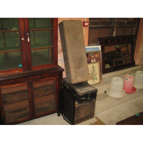 1060 - Three Old Metal Storage Trunks/Boxes Together With a Metal Spark Guard...