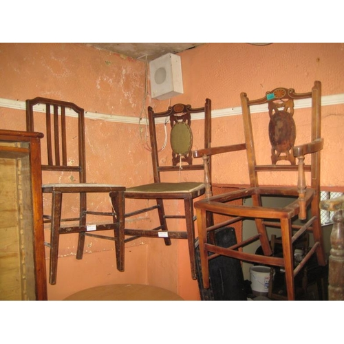1066 - Collection of Edwardian Inlaid Walnut Chairs Including an Armchair (All for Restoration)...
