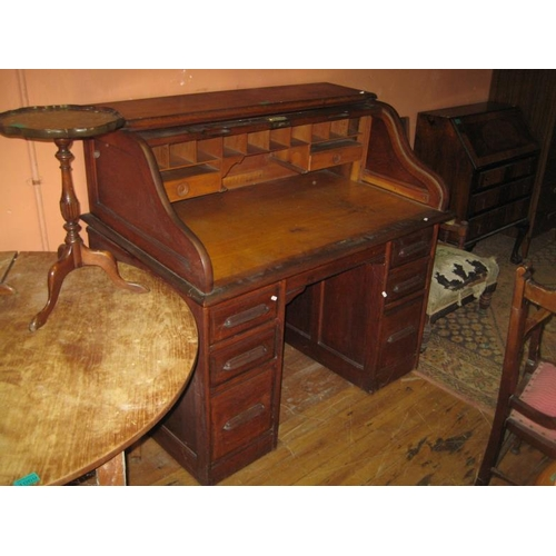 1071 - Edwardian American Oak Roll-Top Desk (123cm Wide)...