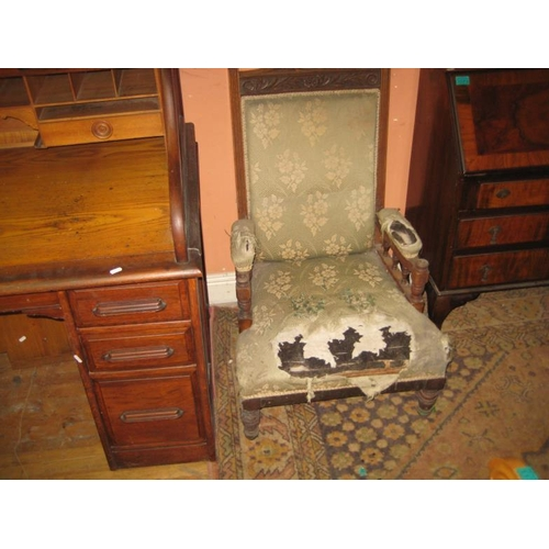 1072 - Late Victorian Mahogany Armchair (For Restoration)...