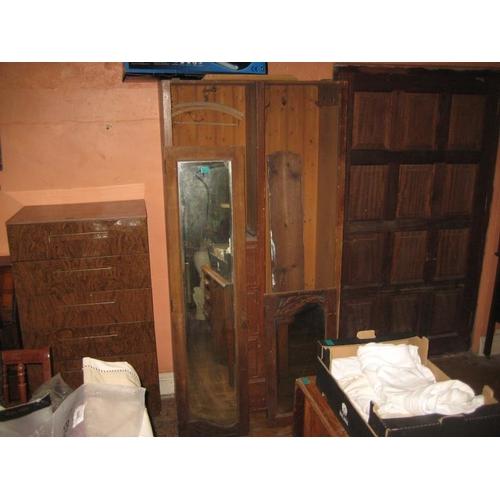1075 - Edwardian Single Door Wardrobe with Drawers (For Restoration)...