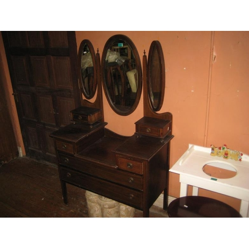 1077 - Edwardian Inlaid Mahogany Dressing Table...