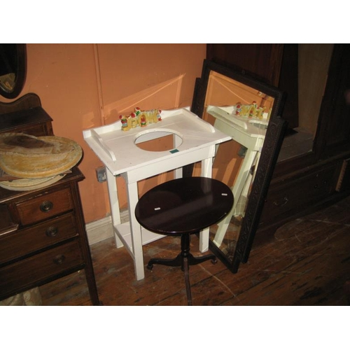 1079 - Victorian Pine Washstand, Wine Table and An Edwardian Oak Mirror...