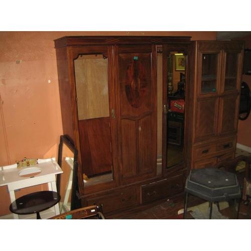1080 - Edwardian Inlaid Mahogany 2-Door Wardrobe (One Mirror Missing)...