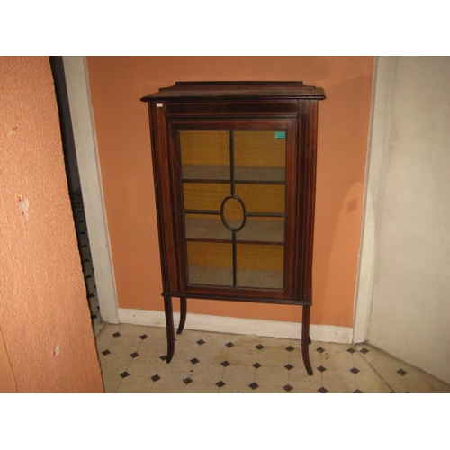 1082 - Edwardian Inlaid Walnut Single Door Display Cabinet (77cm Wide x 143cm Tall)...
