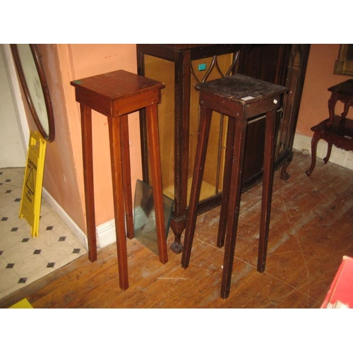 1083 - Pair of Vintage Mixed Wood Jardiniere Stands