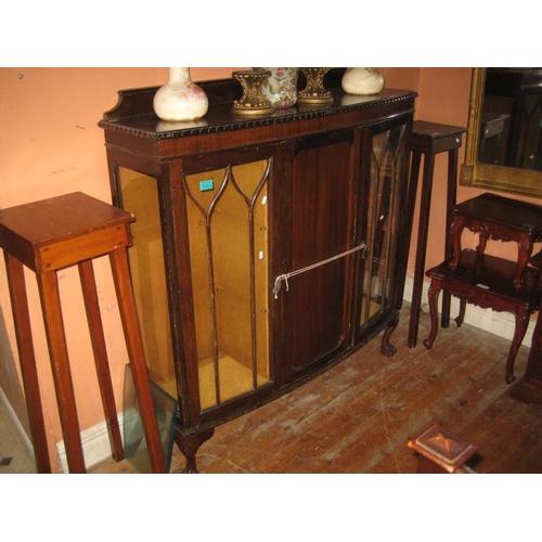 1084 - Vintage Walnut Display Cabinet / Drinks Cabinet (122cm Wide x 129cm Tall)
