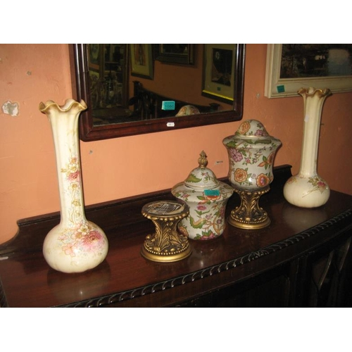 1085 - Pair of Victorian Royal Bonn Stem Vases (Repaired) Together With a Pair of Modern Oriental Lidded Va...