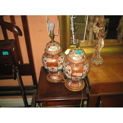 1091 - Pair of Satsuma-Style Oriental Porcelain Table Lamps...