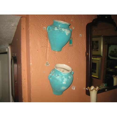 1102 - Pair of Continental Pottery Wall Planters...