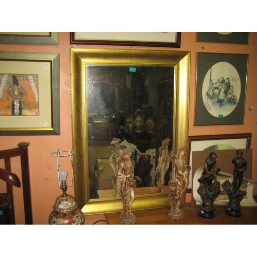 1103 - Gilt Framed Mirror and a Roy Perry Golf Print (Mirror: 109cm x 78cm)...