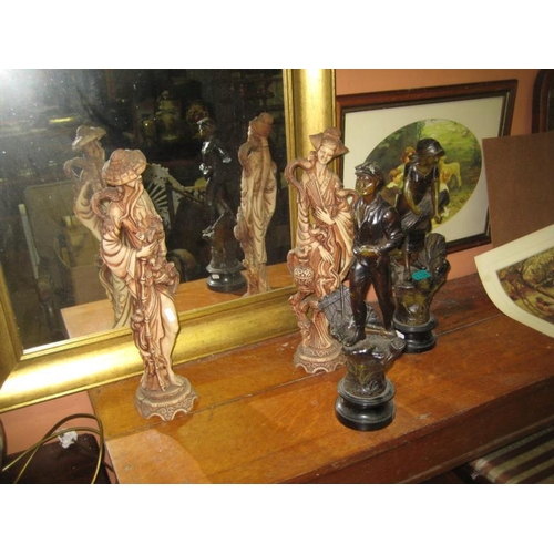 1105 - Pair of Oriental Figures Together With a Pair of Spelter Figures of Farmworkers...