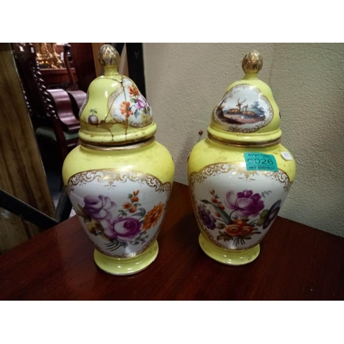 26 - Pair of Yellow Floral Decorated Porcelain Urns (one lid damaged and repaired) (30cm Tall)