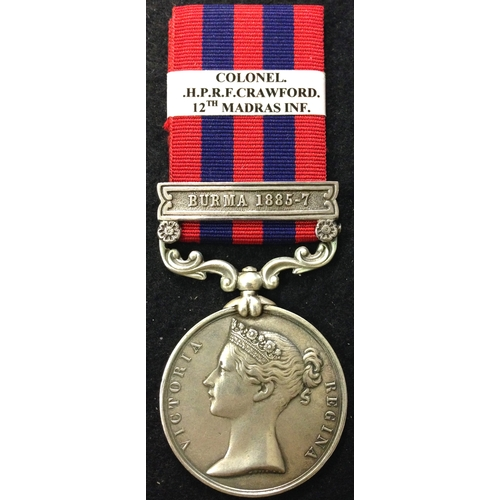 15 - <strong>India General Service 1849-95, clasp Burma 1885-7.</strong> <br /><br />To: Colonel H. P. R....