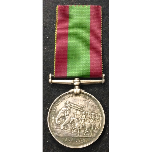 37 - <strong>Afghanistan Medal 1878-80.</strong> <br /><br />To: 3594 Gunr E. Scott. 10/11 th. Bde. R.A.(...