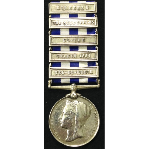 16 - <strong>1882 dated Egypt, 5 clasps to 1st Royal Highlanders.</strong><br /><br />Egypt, 1882 dated r...