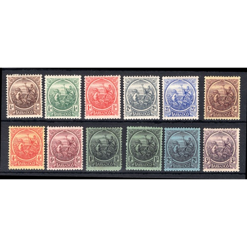 59 - <strong>Barbados</strong>, 1921, full set of 12 (SG 217-228 - Cat. £59), mounted mint, some heavily ...