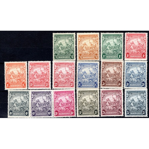 63 - <strong>Barbados</strong>, 1938, full set of 16 (SG 248-256 - Cat. £59.60), mounted mint....