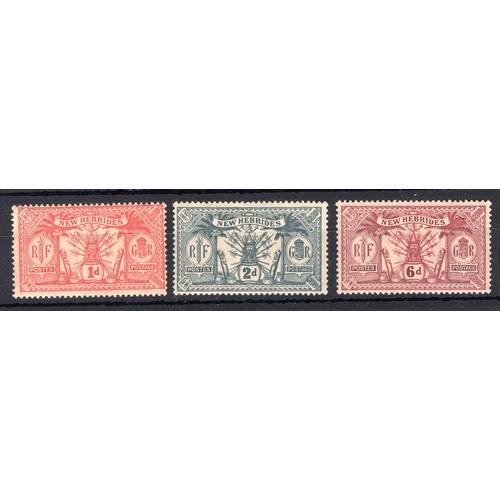 163 - <strong>New Hebrides</strong>, 3 sets, 1920, set of 7 (SG 40-42 - Cat. £33.75), 1921 set of 3 (SG 36...