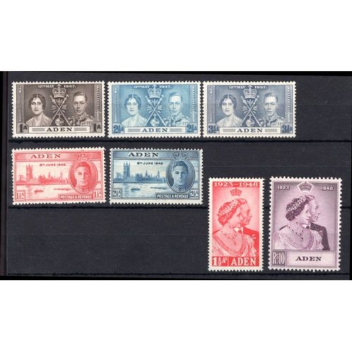 28 - <strong>Aden selection</strong>, 1937-1959, Coronation set 1937 (SG 13-15), Victory 1946 (SG 28 &...