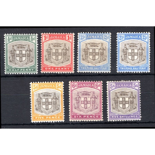 146 - <strong>Jamaica</strong>, 1903, set of 7 (SG 33-45 - Cat. £108), mounted mint....
