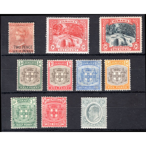 145 - <strong>Jamaica</strong>, 1890-1911, selection, 2½d surcharged 1890 (SG 30 - Cat. £40), heavy mounti...