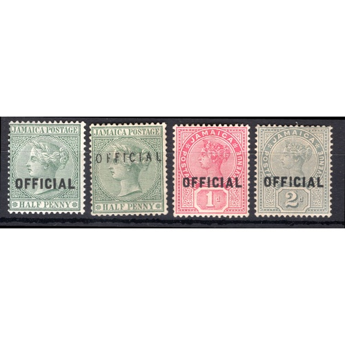 144 - <strong>Jamaica</strong>, 1890, official stamps set of 4 (SG O3-O5 - Cat. £56), mounted mint....
