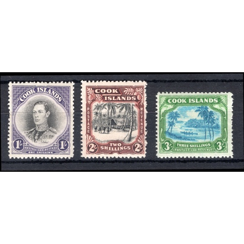86 - <strong>Cook Islands</strong>, 1938, set of 3 (SG 128, 143 & 145 - Cat. £69.50), mounted mint....