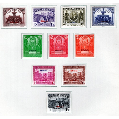 241 - <strong>Spain</strong>, Official overprints, 1931, set of 10 (SG 697-706 - Cat. £97.00), mounted min...
