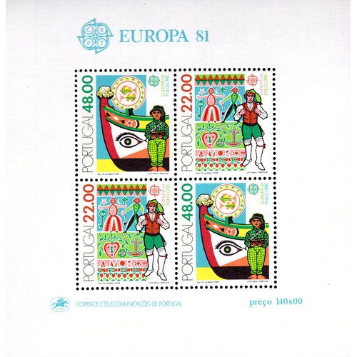 236 - <strong>Portugal</strong>, 'Europa', 1981, sheet of 4, (11) (SG MS1842 - Cat. £13 x 11 = £143), mint...