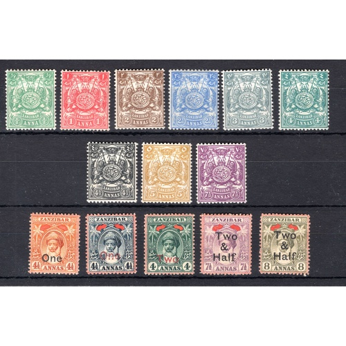 201 - <strong>Zanzibar</strong>, 1904, part set (SG 210-218 - Cat. £50), mounted mint, & 1906 surcharg...