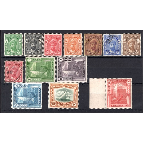 205 - <strong>Zanzibar</strong>, 1936, set of 13 (SG 310-322 - Cat. £123), mounted mint and 30 &...