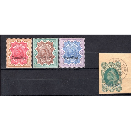 198 - <strong>Zanzibar</strong>, 1895, 2,3 & 5 rupees (SG 19-21 - Cat. £305), mounted mint & ½ ann...