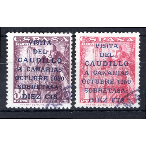 242 - <strong>Spain</strong>, General Franco's visit to Canary Islands, 1950, set of 2 (SG 1149b & 115...