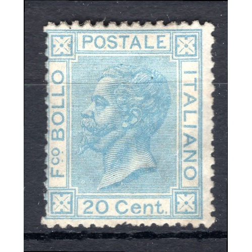 230 - <strong>Italy</strong>, 1863, 20 centesimi (SG  20a - Cat. £900), gum on reverse, but appears to be ...