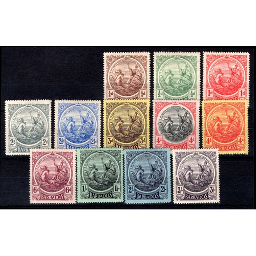 57 - <strong>Barbados</strong>, 1916, set of 12 (SG 181-191 - Cat. £178.00), mounted mint....