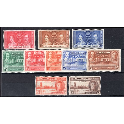 62 - <strong>Barbados</strong>, 1937-1949 George VI selection, 1937, Silver Jubilee, set of 3 (SG 245-7 -...