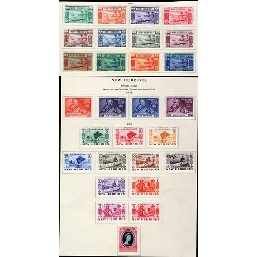 169 - <strong>New Hebrides</strong>, colourful selection, 1938-1953, 1938, set of 12, 1949, 75th Anniversa...